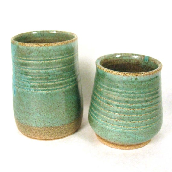 Small Stoneware Pottery Jar Set of 2
