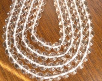 10mm Crystal quartz round beads , full strand