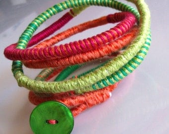 Colorful boho necklace, fiber jewelry,  fiber cord necklace, long rope necklace, lime green hippie necklace
