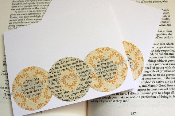 Little Women sewn notecards - set of 2 blank cards