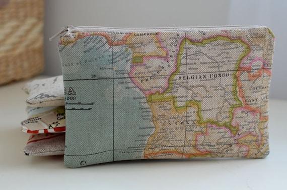 Mini Zipper Pouch in World Map - globe light blue pastel travel continent atlas makeup bag purse organizer
