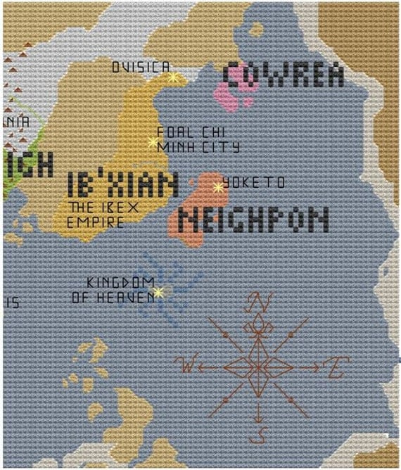 Equestria Map of Known World Part 4 of 8 RESERVED for Ashley cross stitch pattern pdf