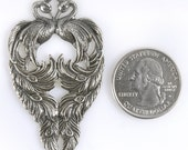 Silver Plated Brass Vintage Double Peacock Pendant, One    S-P41