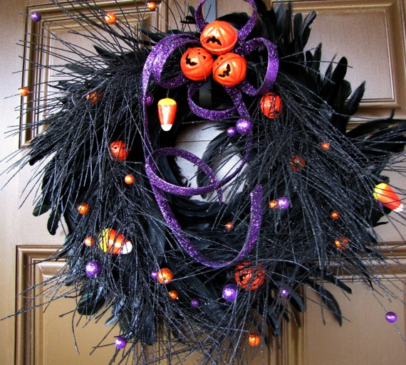 Halloween Black Feather Wreath - Jack o' Lantern Jingle Bells