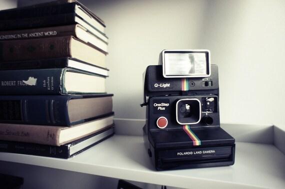 Polaroid Camera SX-70 Black Rainbow OneStep and Q-light - Film Tested Working