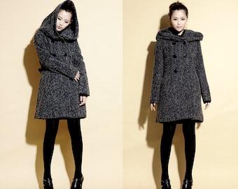 Life Under a Hood Textured Wool Coat/ Wool Hoodie Coat with Belt/ 15 Colors/ RAMIES