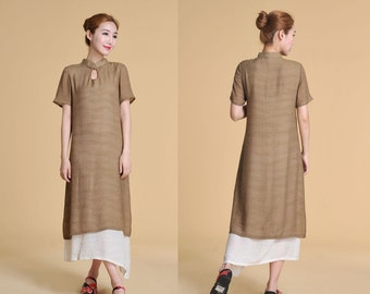 Mandarin collar  Silk Two Layered Dress with Handmade Buttons/ More Color Schemes/ RAMIES