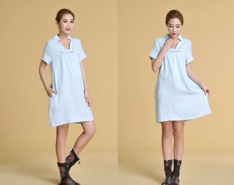 Babydoll  Deep V Neckline Linen Dress with Short Sleeves/ 28 Colors/ Any Size/ RAMIES