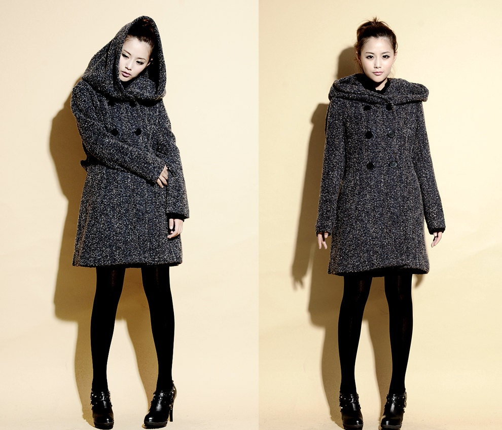 Life Under a Hood Textured Wool Coat/ Wool Hoodie Coat by Ramies