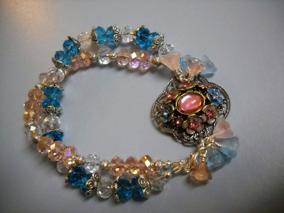 Blooming Centerpiece VINTAGE Style Double Strand Pink and Turquoise BEADED Bracelet