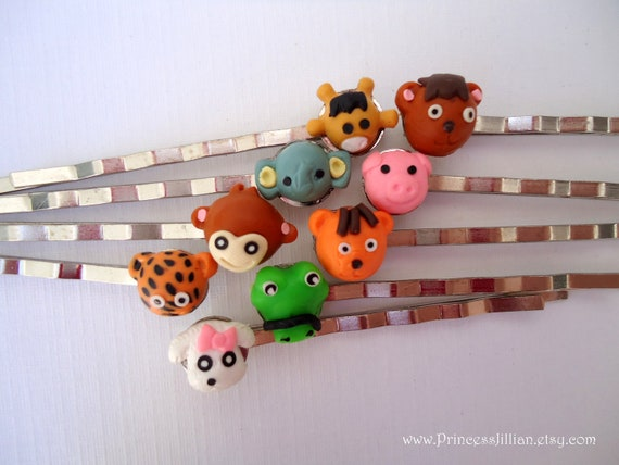 Kawaii and Kitsch bobby pins - Animal lover decorative fun girl embellish colorful hair accessories TREASURY ITEM