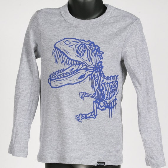Dinosaur on Heather Grey Long Sleeve Children's American Apparel Shirt