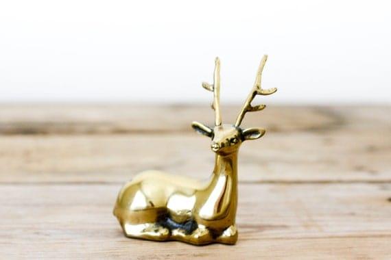 RESERVED Vintage Brass Deer