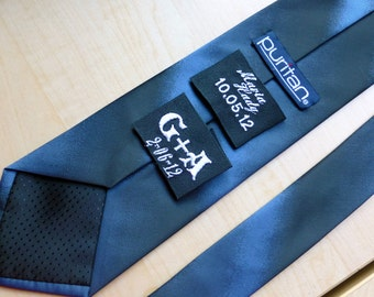 Groom's Personalized Ribbon Labels by Natalia Sabins Custom Embroidered