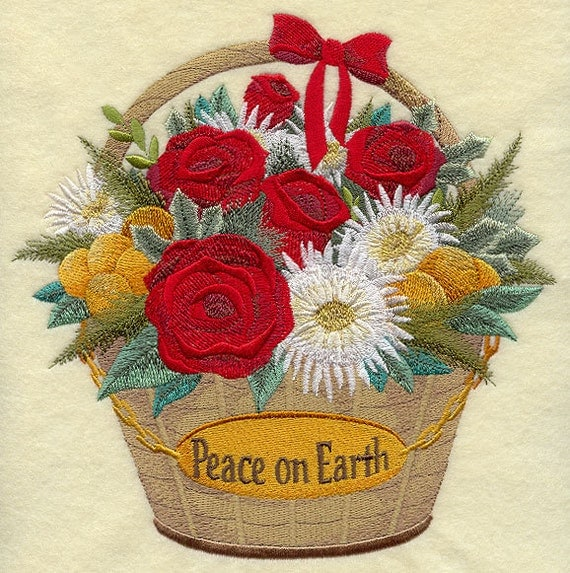 Items Similar To Embroidered Picture U0026quot; Peace On Earthu0026#39; Machine Embroidery Quilt Block CHRISTMAS ...