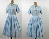 1950s Shirtwaist Dress / 50s Baby Blue Day Dress
