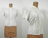 1950s Peter Pan Collar Nylon Blouse / Rhinestones and Pearls / Judy Bond