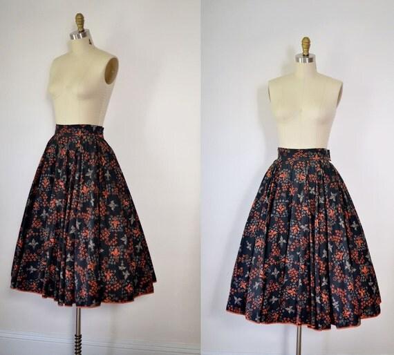 1950s Cotton Skirt / 50s Full Circle Skirt  / Abstract Print