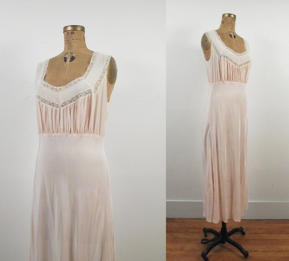 1940s Lingerie / 40s Pink Rayon Nightgown