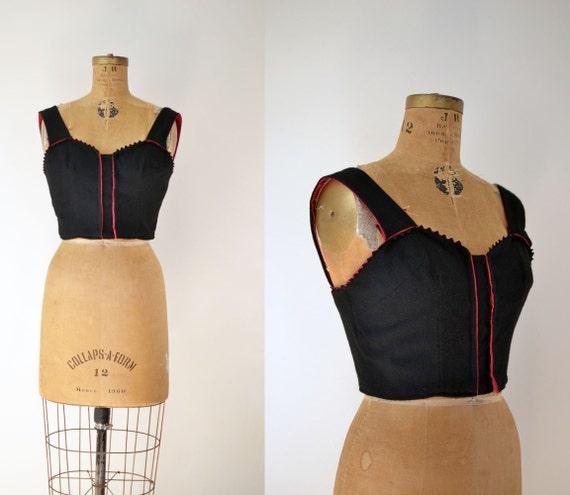 1950s Crop Top / 50s Bustier / Folk Costume