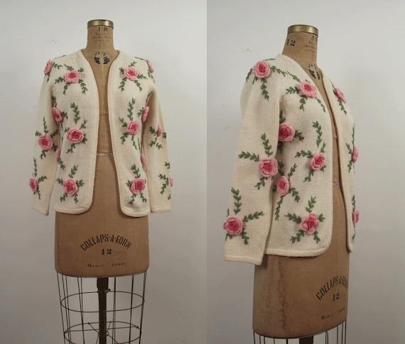 1960s Wool Cardigan / 60s Rose Cardigan