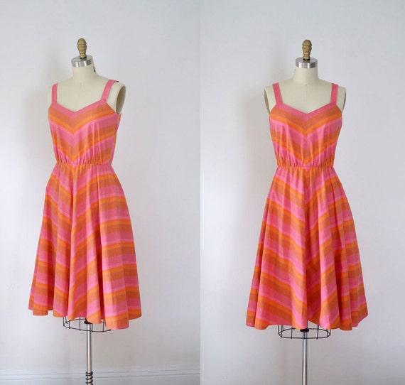 1970s Chevron Sundress / 70s Striped Dress
