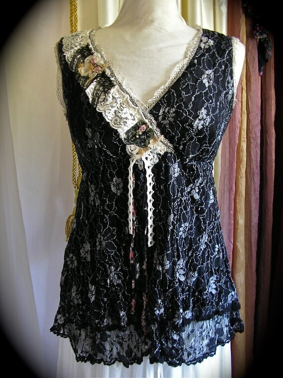 Black Bohemian Top layered boho gypsy black lace blouse upcycled clothing altered couture MEDIUM