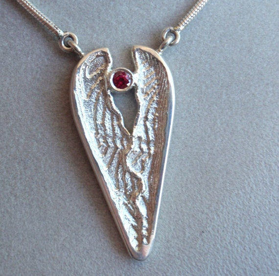 Sterling Silver Heart Necklace Ruby Abstract Cuttlebone Cast Valentines Day