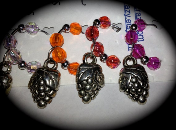 Grapevine GRAPES Wine Glass Charms Set of 6
