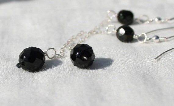Dangle Earrings Faceted Black Stones and Sterling Silver -  Long Chains