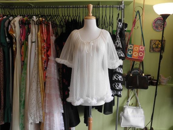 60s white ruffle nightie 1960s frothy swiss dot peignoir lingerie robe nightie 60s fluffy short robe