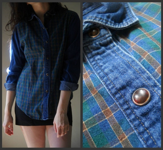 Vintage Dockers Denim Shirt with Subtle Plaid Bodice and Brown Snap Buttons - - - Size Small