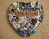 RESERVED FOR JOYCE Faith Mosaic Heart in Blues with Vintage Brooch and White Bird Mosaic Art
