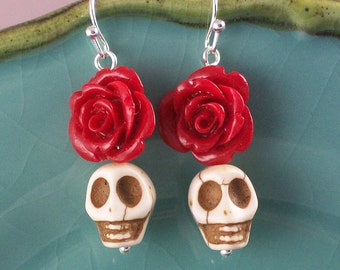 Red Rose and White Sugar Skulls earrings