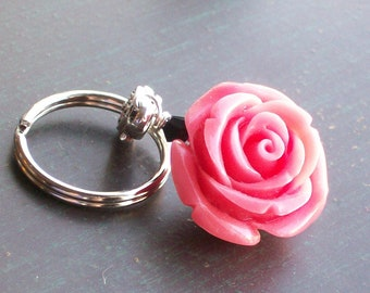 Orange Day of the Dead Rose Pendant Keychain