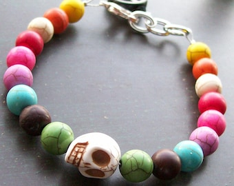 Creepy Jewelry Halloween Skull Bracelet Day of the Dead Bracelet