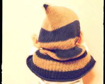 Cape with hood for kids, Stripe riding hood for boy, Silk and wool mixed luxury yarn.