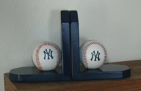 Baseball Bookends, Navy Blue Yankees Theme.
