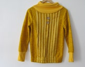 Mustard yellow cowl neck handmade vintage sweater with buttons.  Super cute and cozy.