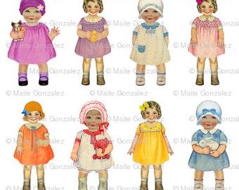 Vintage fabric paper doll B. Medium size 15cm (6 inches)