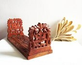 Vintage carved wooden book rack, ornate retro book ends, hand crafted bookshelf, handmade and unique