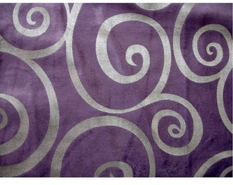 Light Purple Circle Scrolls - Velvet Fabric With Silver Printing Technique