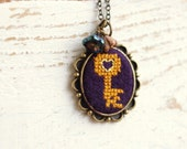 Textile necklace - cross stitch key - embroidered key necklace - n036