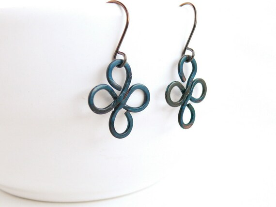 Blue patina earrings Patinated oxidized copper, ethnic, minimalistic, rustic, mint, hypoallergenic