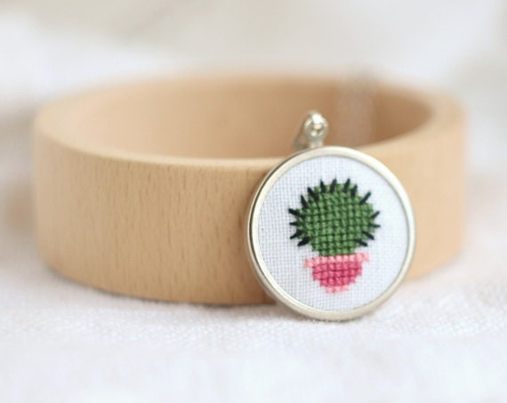Embroidered jewelry with little cactus - botanical jewelry - n054