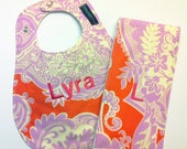 Monogrammed Bib and Burp Cloth set - Amy Butler Love Sandlewood Tangerine fabric