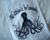 Octopus tea towel - This Kitchen is for Dancing - Flour sack kitchen towel