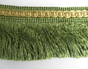 VINTAGE IMPORTED chainette fringe green with gold header 3 inch