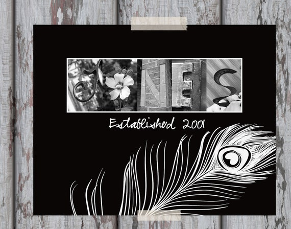 "Peacock Custom Personalized Last Name Letter Art Print - 11 x 14"" with Black and White Letter Photos"