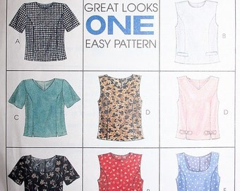 8 Different Easy Tops Sewing Pattern McCalls 8405 Size 8 10 12 UNCUT